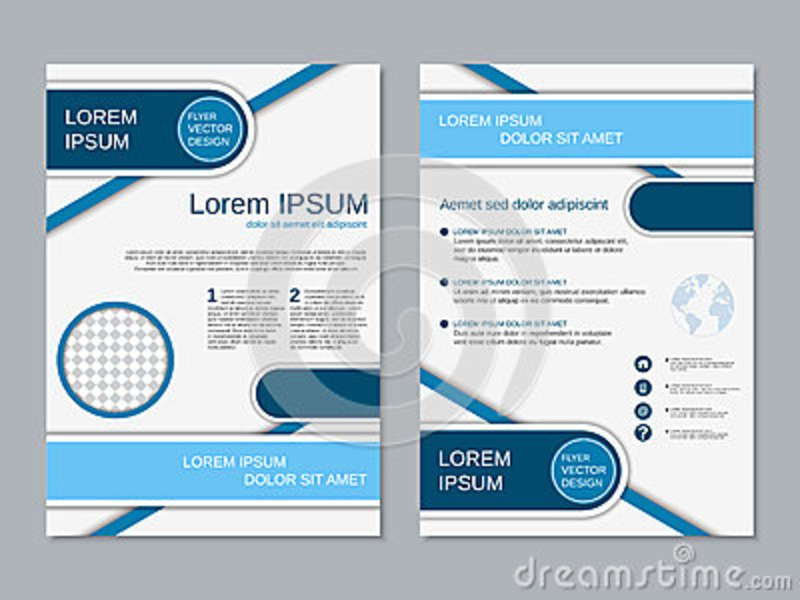 Double Sided Brochure Template Modern Two Sided Flyer Vector Template Stock Vector