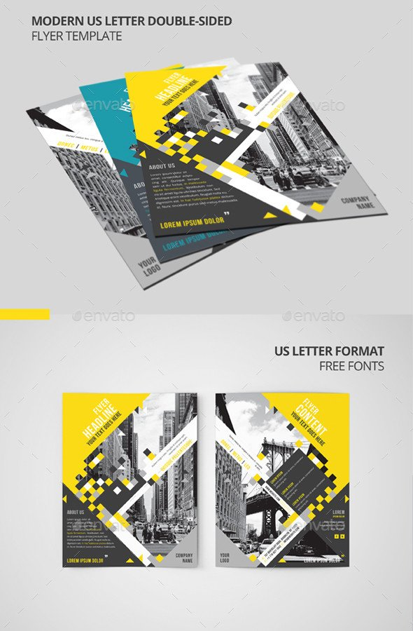 Double Sided Brochure Template Modern Us Letter Double Sided Flyer Template by