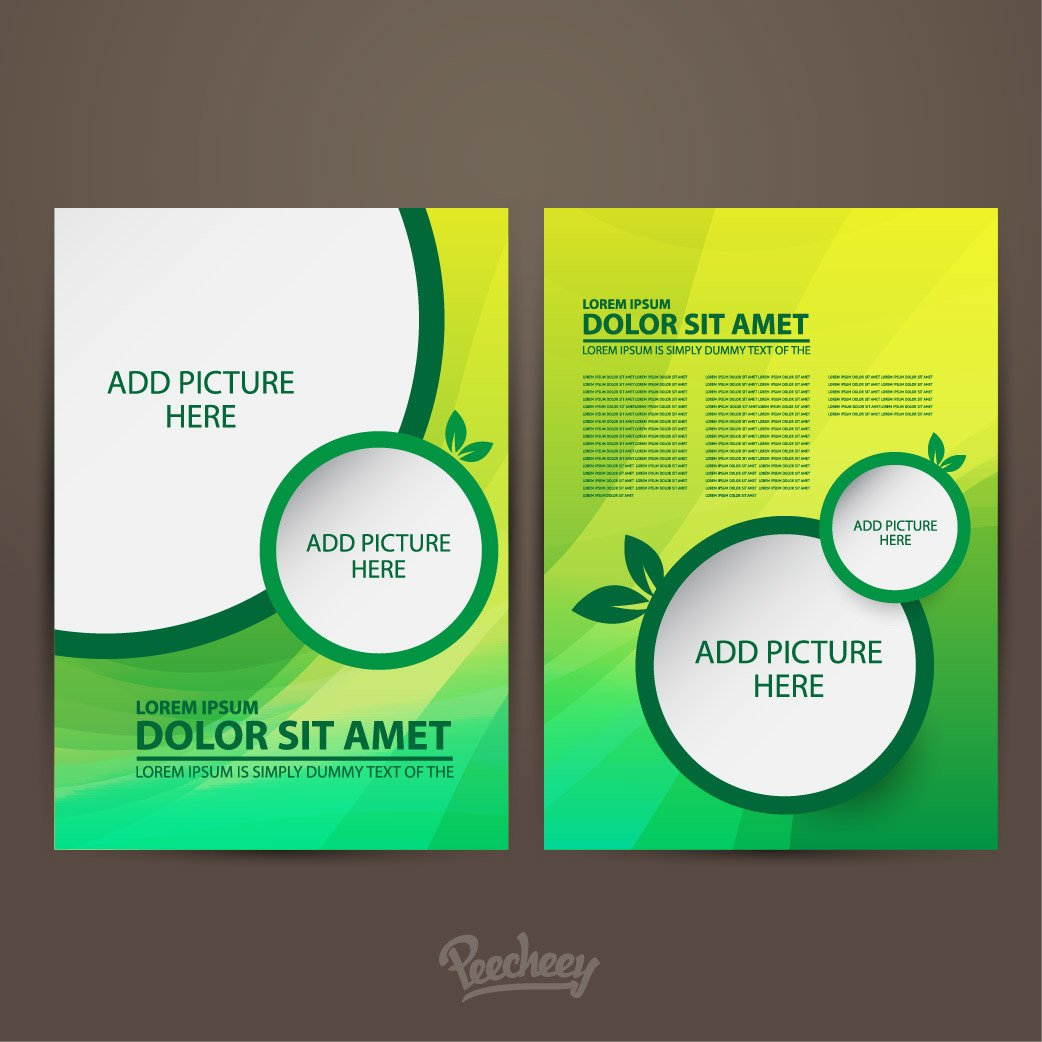 Double Sided Brochure Template Two Sided Green Brochure Template Vector
