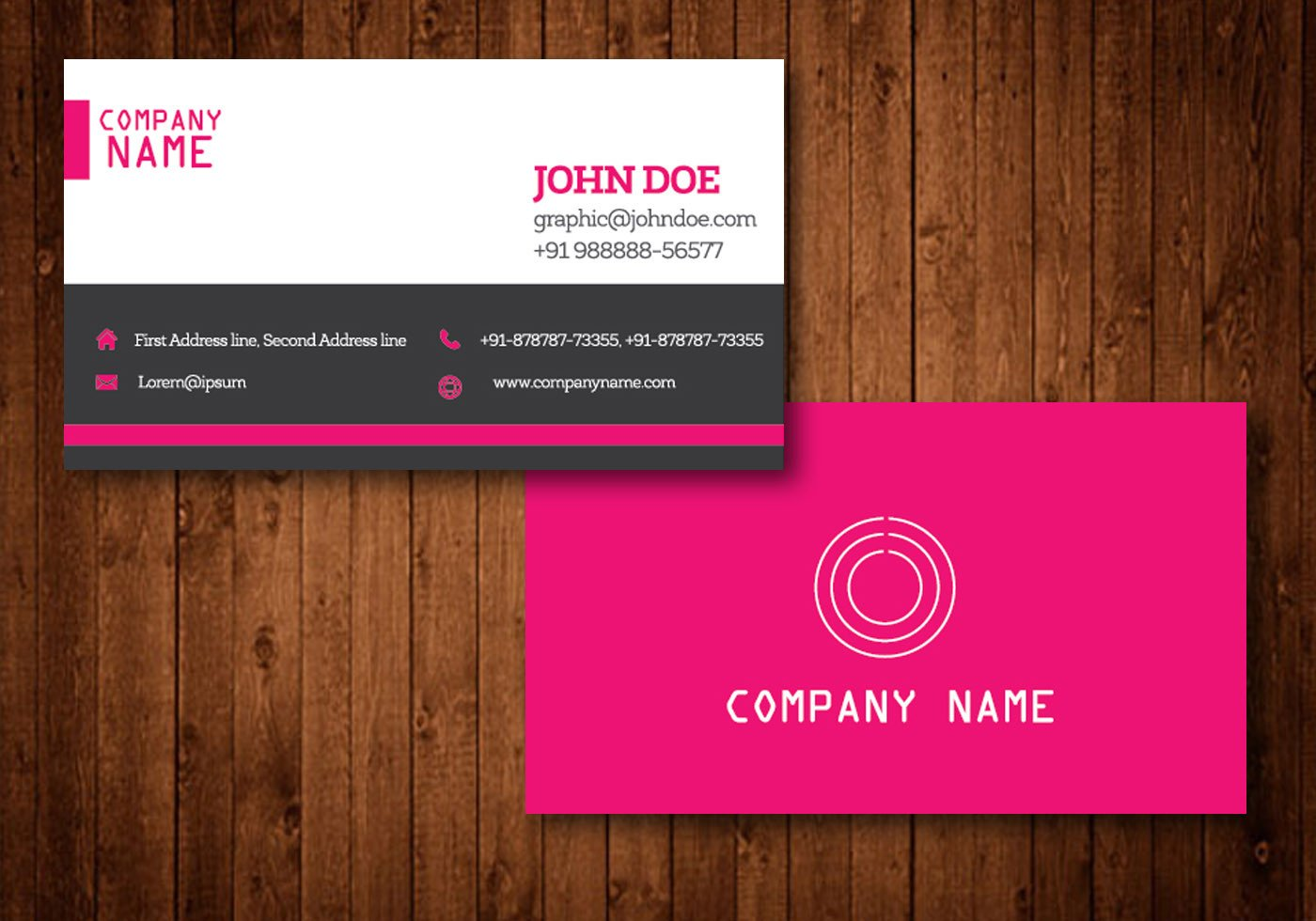 Download Business Cards Templates Pink Creative Business Card Vector Template Download
