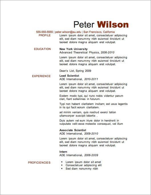 Download Free Resume Template 12 Resume Templates for Microsoft Word Free Download