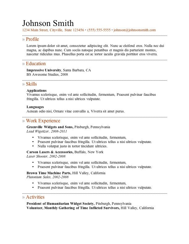 Download Free Resume Template 7 Free Resume Templates