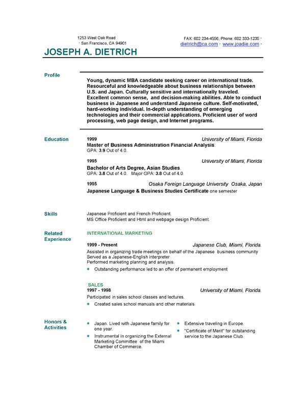 Download Free Resume Template Free Resume Template Downloads