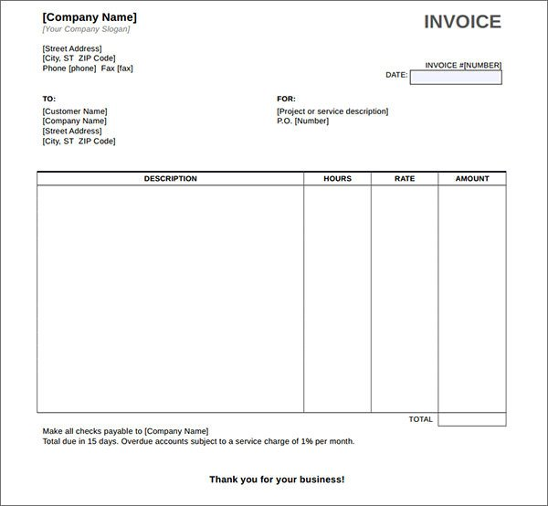 Download Invoice Template Word Service Invoice Template Word Download Free