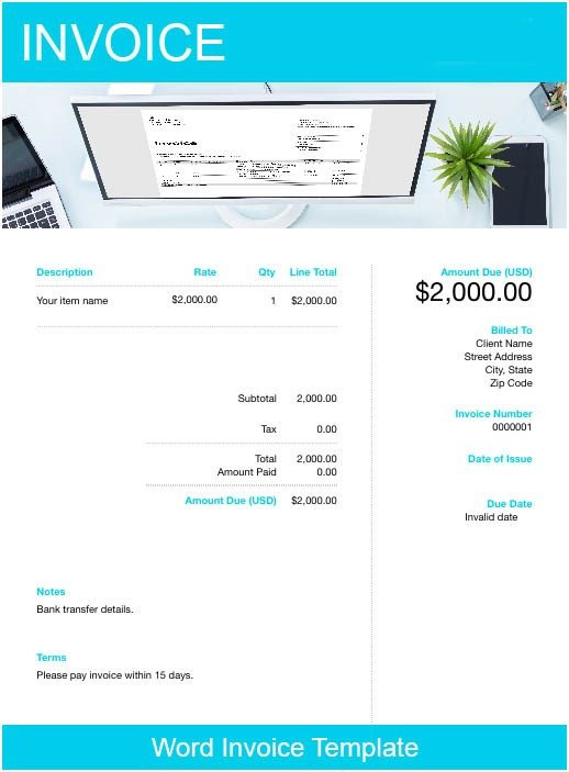 Download Invoice Template Word Word Invoice Template Free Download