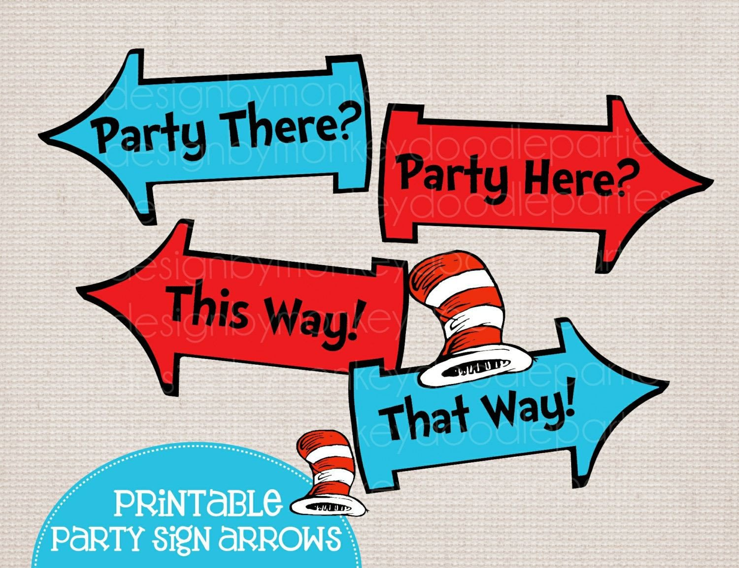 Dr Seuss Arrows Free Printables Adorable Dr Seuss Cat In the Hat Inspired Printable Party