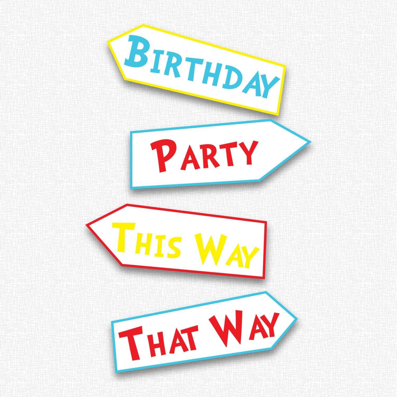 Dr Seuss Arrows Free Printables Dr Seuss Birthday Party Yard Sign Printable $3 00