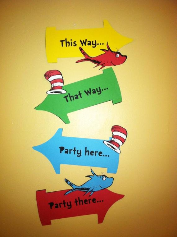 Dr Seuss Arrows Free Printables Dr Seuss Inspired Party Signs Thing 1 and Thing 2 Party