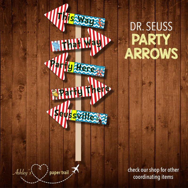 Dr Seuss Arrows Free Printables Dr Seuss Party Arrows Digital File by ashleyspapertrail