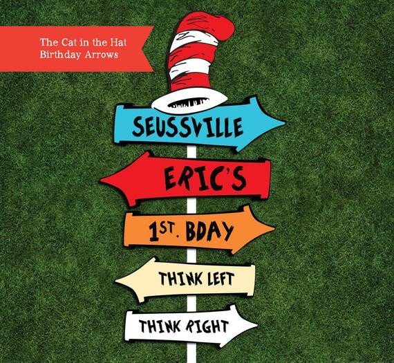 Dr Seuss Arrows Free Printables Dr Seuss Personalized Arrow Signs Digital File by