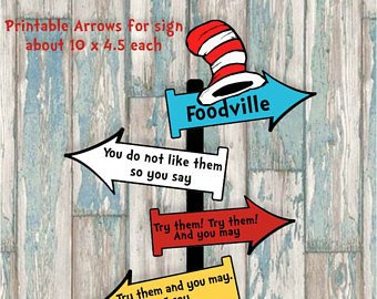 Dr Seuss Arrows Free Printables Whimsical Blue and Red Rhyming Printable Party Arrow Signs 4
