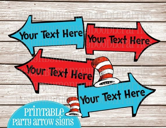 Dr Seuss Arrows Free Printables Your Text Dr Seuss Cat In the Hat Inspired Customized