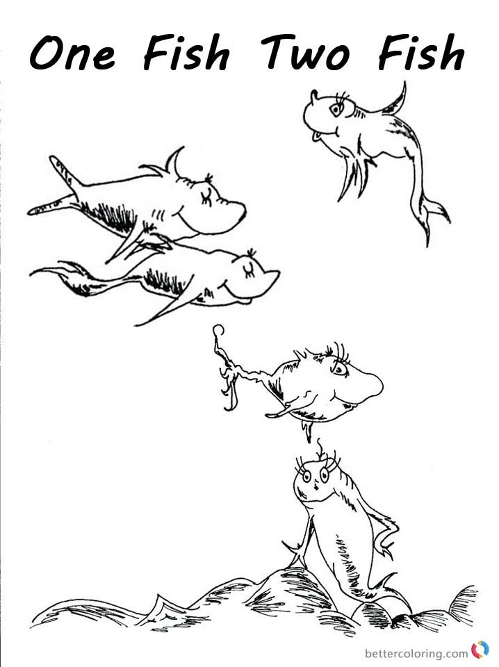 Dr Seuss Fish Template E Fish Two Fish Pages Coloring Pages