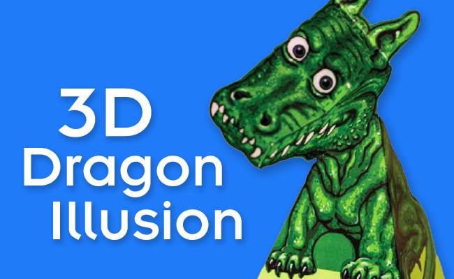 Dragon Illusion Printout 3d Dragon Illusion
