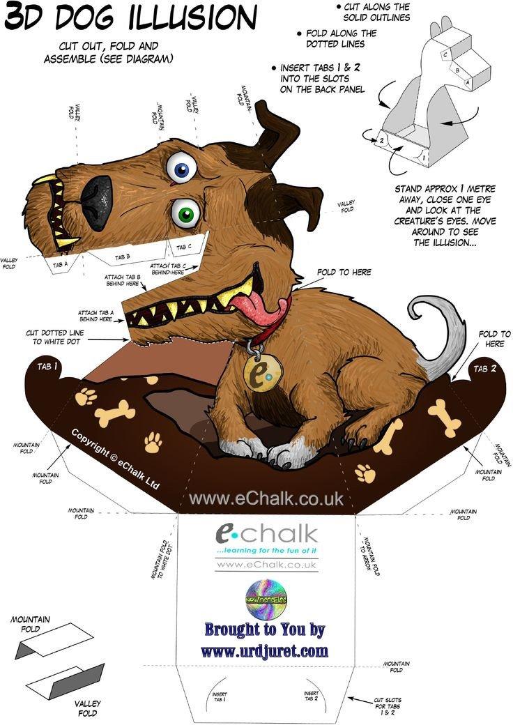 Dragon Illusion Printout Echalk Gruff the Dog 1347×1905