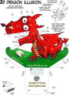 Dragon Illusion Printout How to Make Paper Dragon Illusion