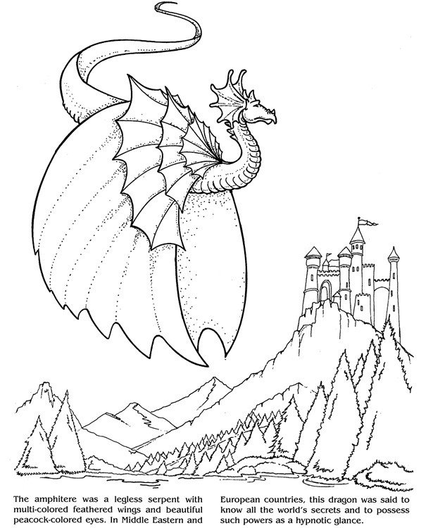 Dragon Tracing Pictures Dragon and Castle Design for Tracing Fairies