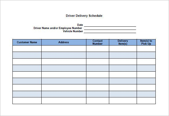Driver Manifest Template 15 Delivery Schedule Templates Docs Pdf Excel