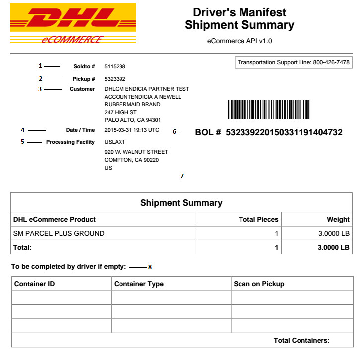 Driver Manifest Template What Does My Dhl E Merce Driver S Manifest Shipment