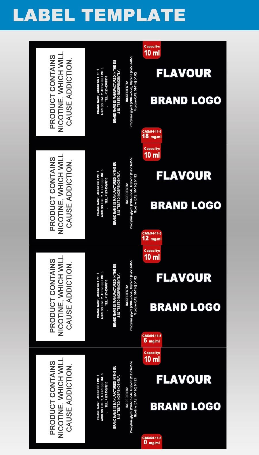 E Juice Bottle Label Template Design Packaging Templates for E Juice Labels