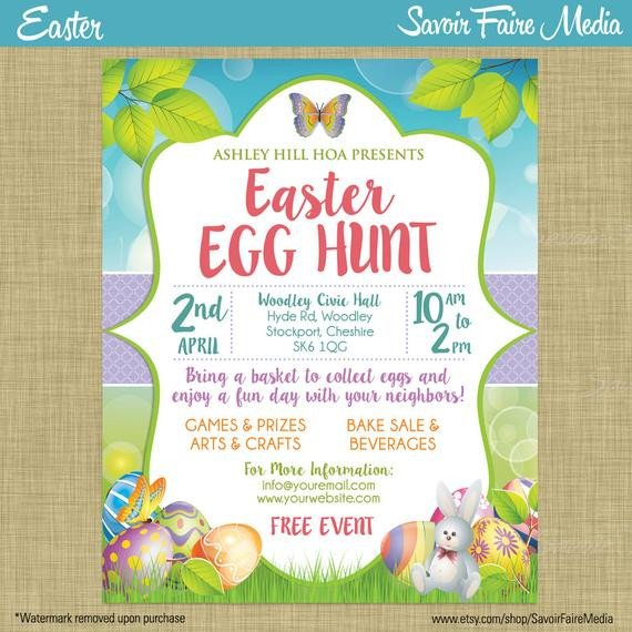 Easter Egg Hunt Flyer Easter Egg Hunt Flyer Invitation Poster Template Church