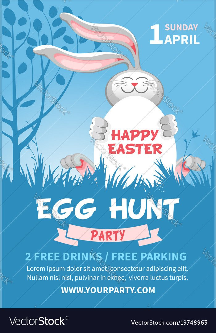 Easter Egg Hunt Flyer Easter Egg Hunt Flyer Template Royalty Free Vector Image