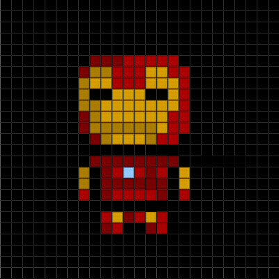 Easy Pixel Art Grid Basic Pixel Art the Iron Man Collection