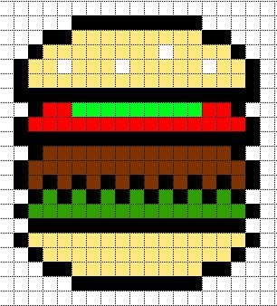 Easy Pixel Art Grid Hamburger Template for Pixel Art