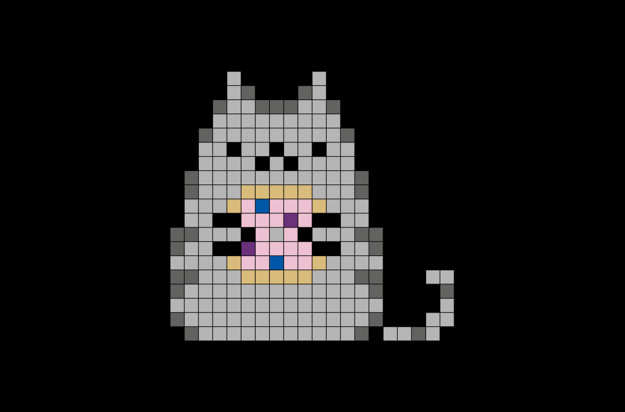 Easy Pixel Art Grid Pusheen with Donut Pixel Art – Brik