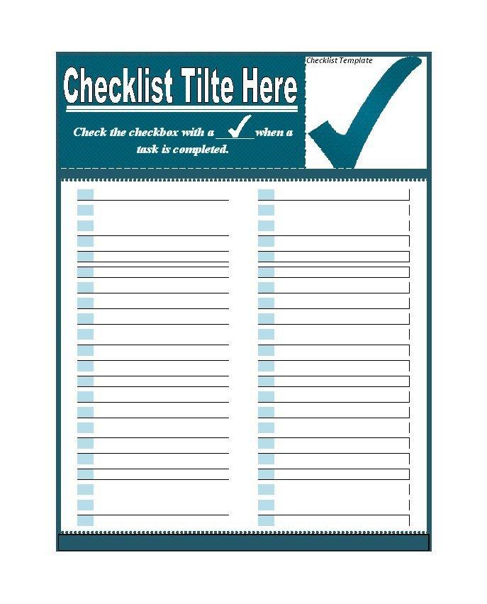 Editable Checklist Template Word 50 Printable to Do List & Checklist Templates Excel Word