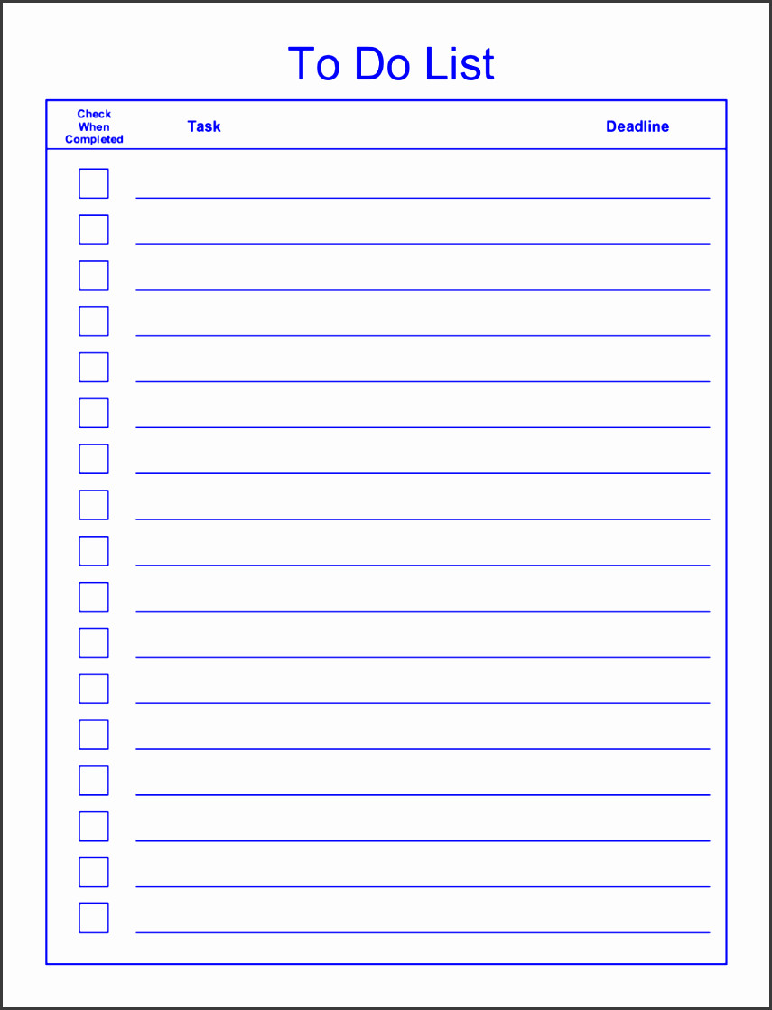 Editable Checklist Template Word 6 Editable to Do List Template Sampletemplatess