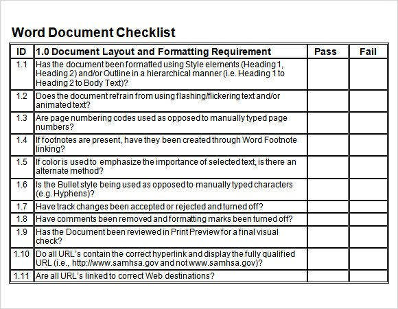 Editable Checklist Template Word Blank Checklist Template 9 Download Free Document In