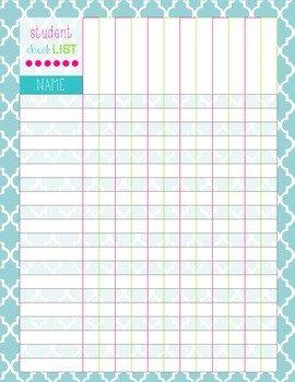 Editable Class List Student Checklist by Mrs J 211