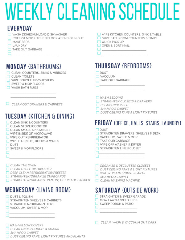 Editable Cleaning Schedule Template Editable Cleaning Schedule Template
