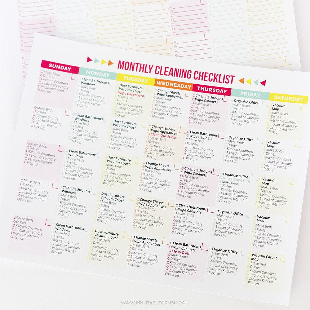 Editable Cleaning Schedule Template Editable Printable Cleaning Schedule and Checklist