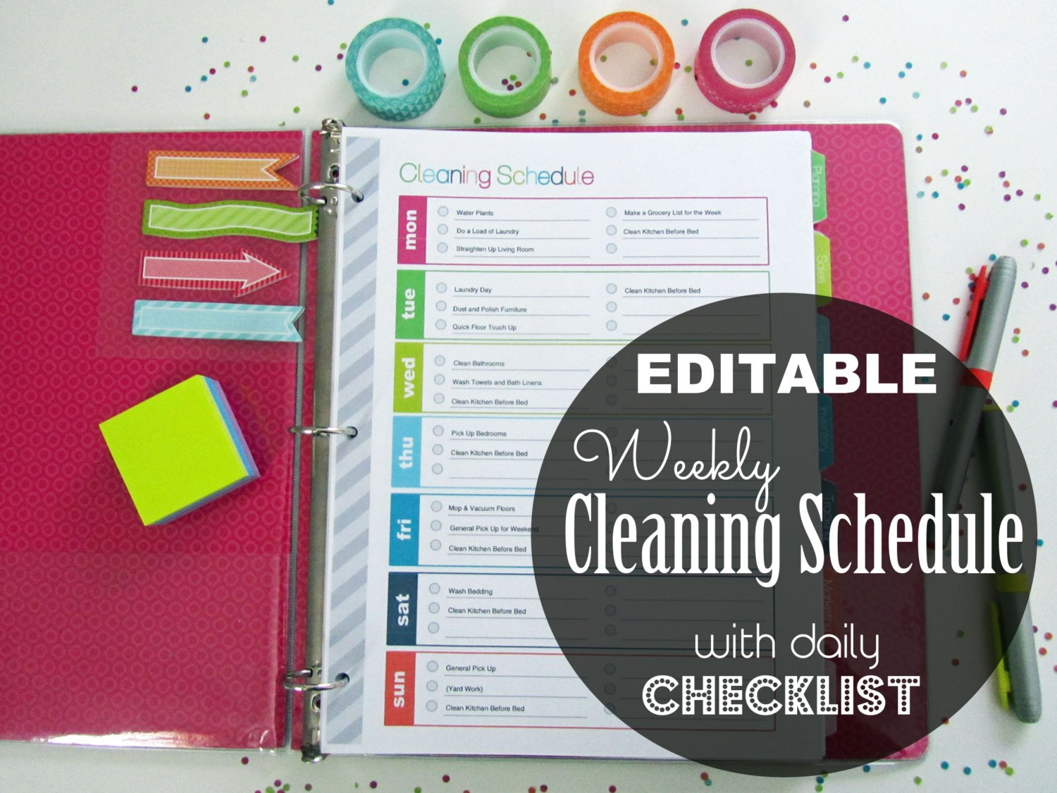 Editable Cleaning Schedule Template Editable Weekly Cleaning Schedule Checklist by
