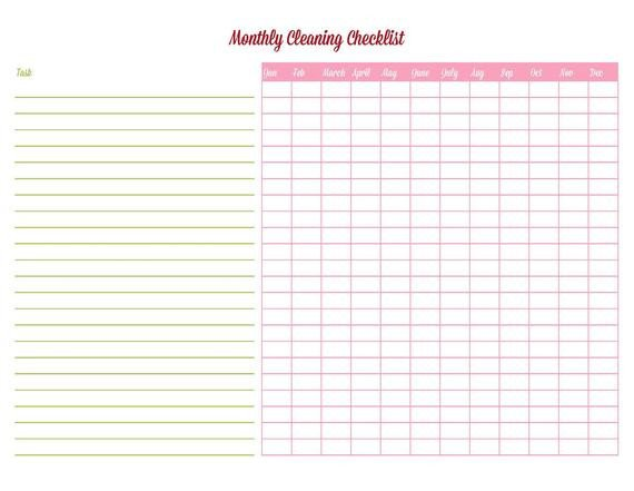 Editable Cleaning Schedule Template Items Similar to Cleaning Checklist Editable Printable Pdf