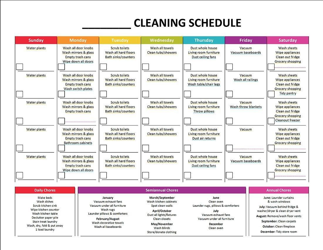 Editable Cleaning Schedule Template Plete Housekeeping Printable Set