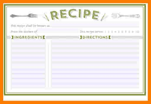 Editable Recipe Card Template 5 Free Editable Recipe Card Templates for Microsoft Word