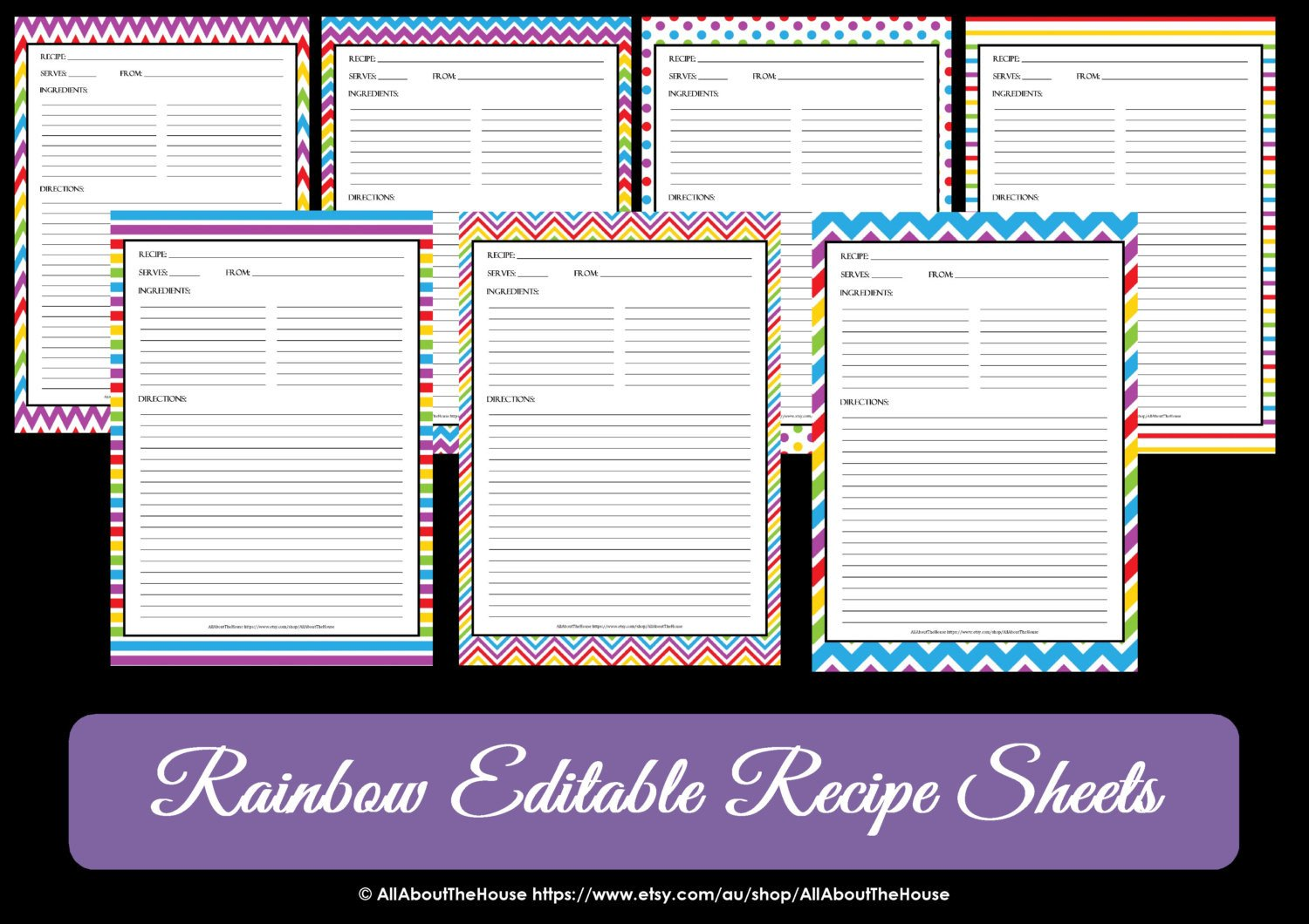 Editable Recipe Card Template Editable Printable Chevron Recipe Template Recipe Card