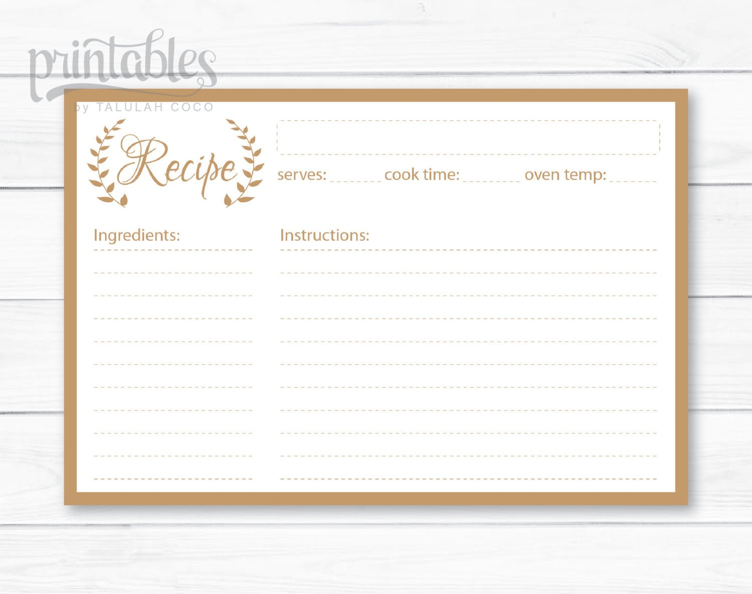 Editable Recipe Card Template Editable Recipe Cards Kitchen organization Brown Recipe