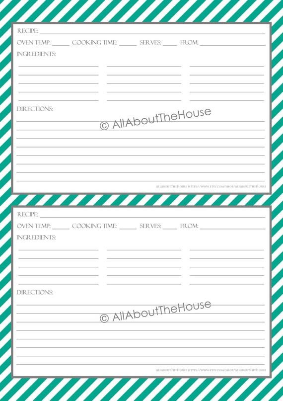 Editable Recipe Card Template Items Similar to Editable Printable Stripe Recipe