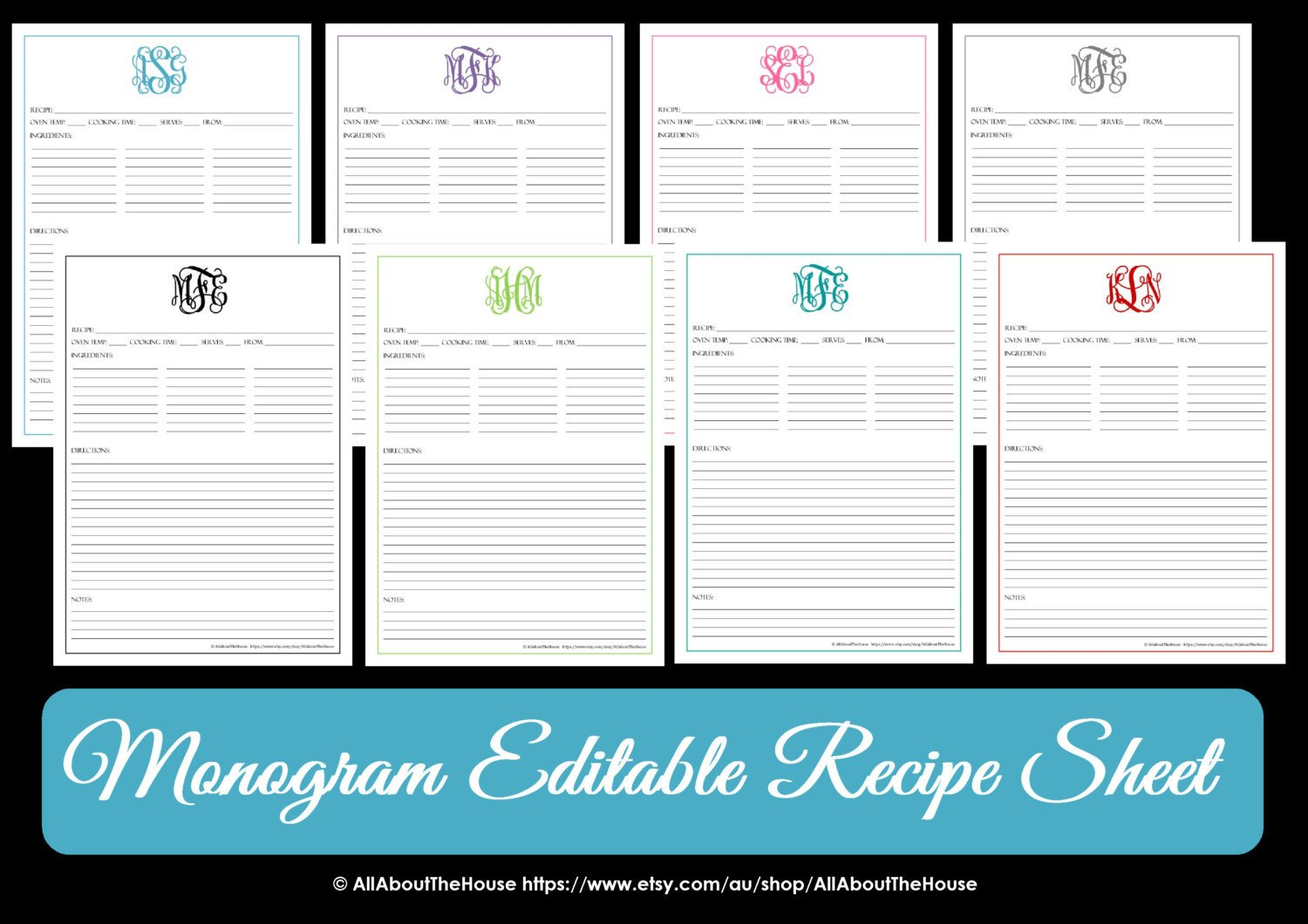 Editable Recipe Card Template Monogram Recipe Sheet Editable Recipe Card Preppy Template