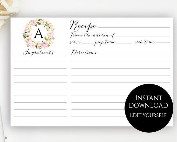 Editable Recipe Card Template Recipe Card Template Editable Recipe Cards Monogram Recipe