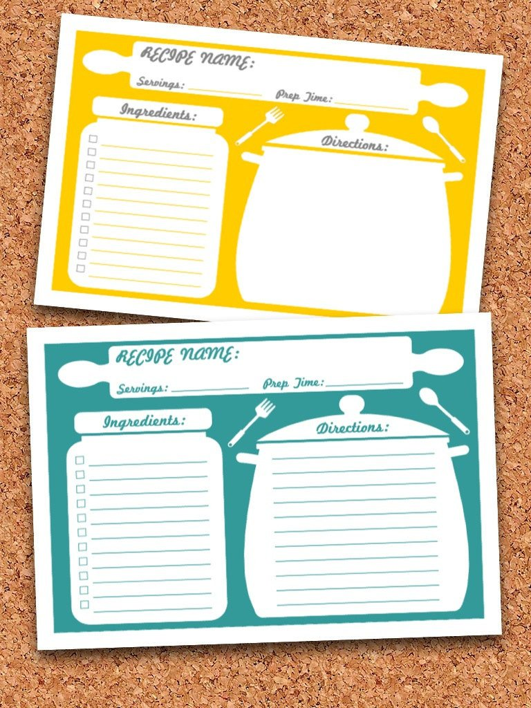 Editable Recipe Card Template Recipe Cards Printable Editable Instant Download
