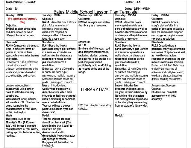 Ela Lesson Plan Template 2 Lesson Plans 9 8 14 C Nesbitt