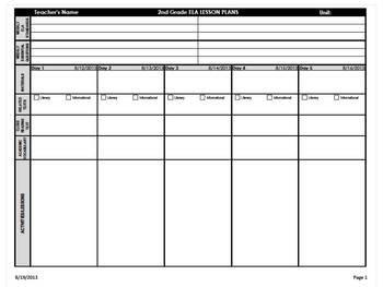 Ela Lesson Plan Template 2nd Grade Mon Core Weekly Lesson Plan Template Ela