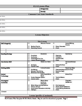 Ela Lesson Plan Template Ela Lesson Plan Template with Embedded Mon Core