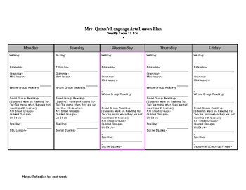 Ela Lesson Plan Template Ela Weekly Lesson Plan Template by Rockininthird