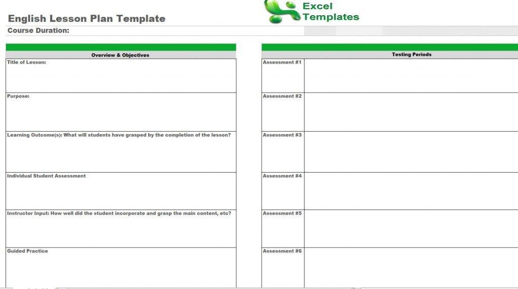 Ela Lesson Plan Template English Lesson Plan Template